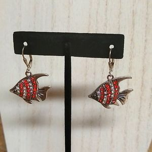 Orange & Clear Bling Tropical Fish Dangle Earrings